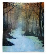 Path Through The Woods In Winter At Sunset Fleece Blanket