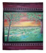 Path To The Pedernales River With Painted Frame Fleece Blanket