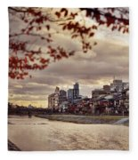 Pathway Along Kamo River In A Beautiful Dramatic Autumn Sunset S Fleece Blanket