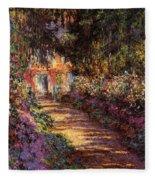 Pathway In Monet's Garden Fleece Blanket