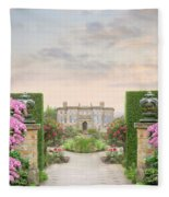 Pathway Leading To A Mansion Through Beautiful Gardens Fleece Blanket