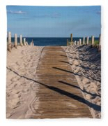 Pathway To Beach Seaside New Jersey Fleece Blanket
