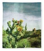 Patina Green Desert Bloom Fleece Blanket