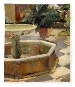 Patio Fountain In Seville Fleece Blanket
