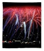 Patriotic Fireworks S F Bay Fleece Blanket