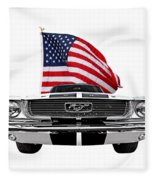Patriotic Mustang On White Fleece Blanket