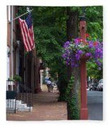 Patriotic Street In Philadelphia Fleece Blanket