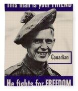 Patriotic World War 2 Poster Us Allies Canada Fleece Blanket