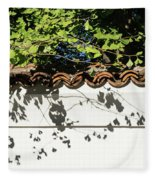 Patterned Sunshine - Ginkgo Shadows On A White Stucco Wall Fleece Blanket