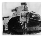 Patton Beside A Renault Tank - Wwi Fleece Blanket