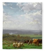 Paturage En Auvergne Fleece Blanket