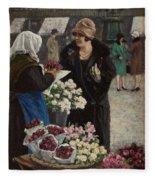 Paul Fischer, 1860-1934, Flower Market In Copenhagen Fleece Blanket