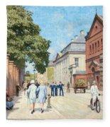 Paul Fischer, Sunny Street Scene, Bredgade, Copenhagen. Fleece Blanket