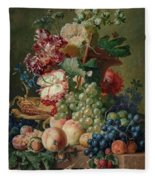Paulus Theodorus Van Brussel - Still Life Of Flowers And Fruit On A Stone Ledge, Fleece Blanket