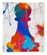 Pawn Chess Piece Paint Splatter Fleece Blanket