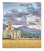 Payson Utah Lds Temple, Sunset View Of The Mountains And Grass Fleece Blanket