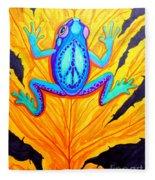 Peace Frog On Fall Leaf Fleece Blanket