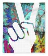 Peace Hand Sign 1  Fleece Blanket