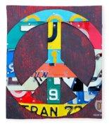 Peace License Plate Art Fleece Blanket
