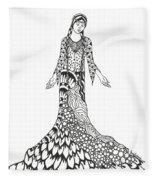 Peace Woman Wild Ink Fleece Blanket