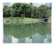 Peaceful Bridge In Tokyo Park Fleece Blanket
