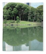 Peaceful Bridge In Tokyo Park Fleece Blanket