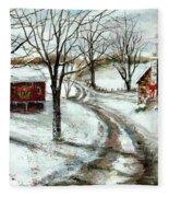 Peaceful Christmas Farm Fleece Blanket