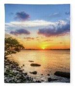 Peaceful Evening On The Waterway Fleece Blanket