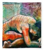 Peaceful Flow - Reclining Nude Fleece Blanket