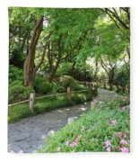 Peaceful Garden Path Fleece Blanket