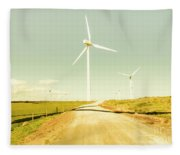 Peaceful Pastel Wind Farm Fleece Blanket