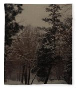 Peaceful Snow Dusk Fleece Blanket