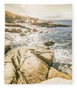 Peaceful Sun Flared Australian Coastline Fleece Blanket