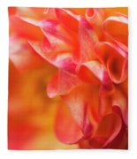 Peach Color Dahlia Fleece Blanket