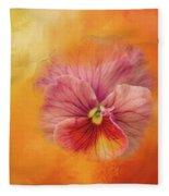Peach Pansy Fleece Blanket