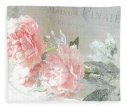 Peach Peonies Impressionistic Peony Floral Prints - French Impressionistic Peach Peony Prints Fleece Blanket