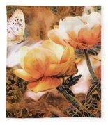 Peach Peonies Fleece Blanket