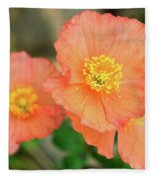 Peach Poppies Fleece Blanket