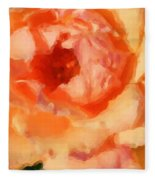 Peach Rose - Digital Painting Fleece Blanket