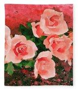 Peach Roses Fleece Blanket