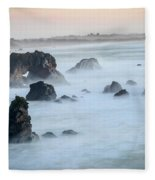 Peach Sky At Arched Rock Fleece Blanket