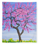 Peach Tree, Painting Fleece Blanket
