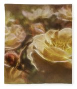 Peach Yellow Roses Fleece Blanket