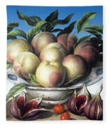 Peaches In Delft Bowl With Purple Figs Fleece Blanket