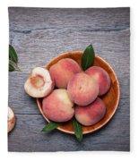 Peaches On A Dark Wooden Background Fleece Blanket