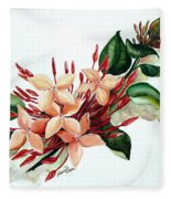 Peachy Ixora Fleece Blanket