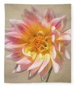 Peachy Pink Dahlia Close-up Fleece Blanket