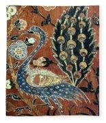 Peacock Among Flowers Fleece Blanket
