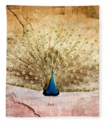 Peacock Bird Textured Background Fleece Blanket