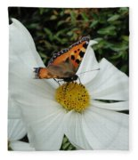 Peacock Butterfly On Cosmos Fleece Blanket